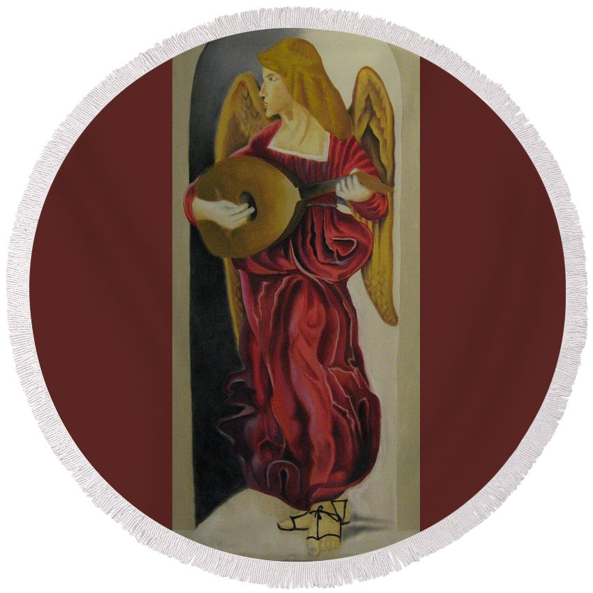 Round Beach Towel featuring the painting Angel With Lute by Ronnie Lee
