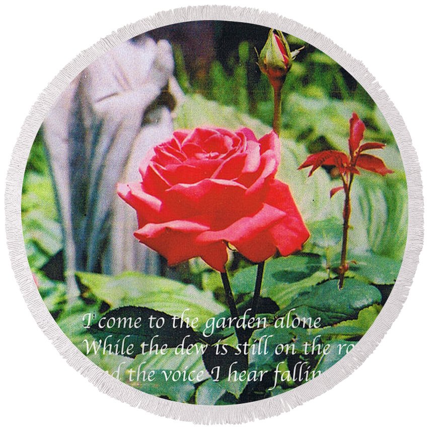 Angel Statute Round Beach Towel featuring the photograph Angel with Roses 2 by Seth Weaver