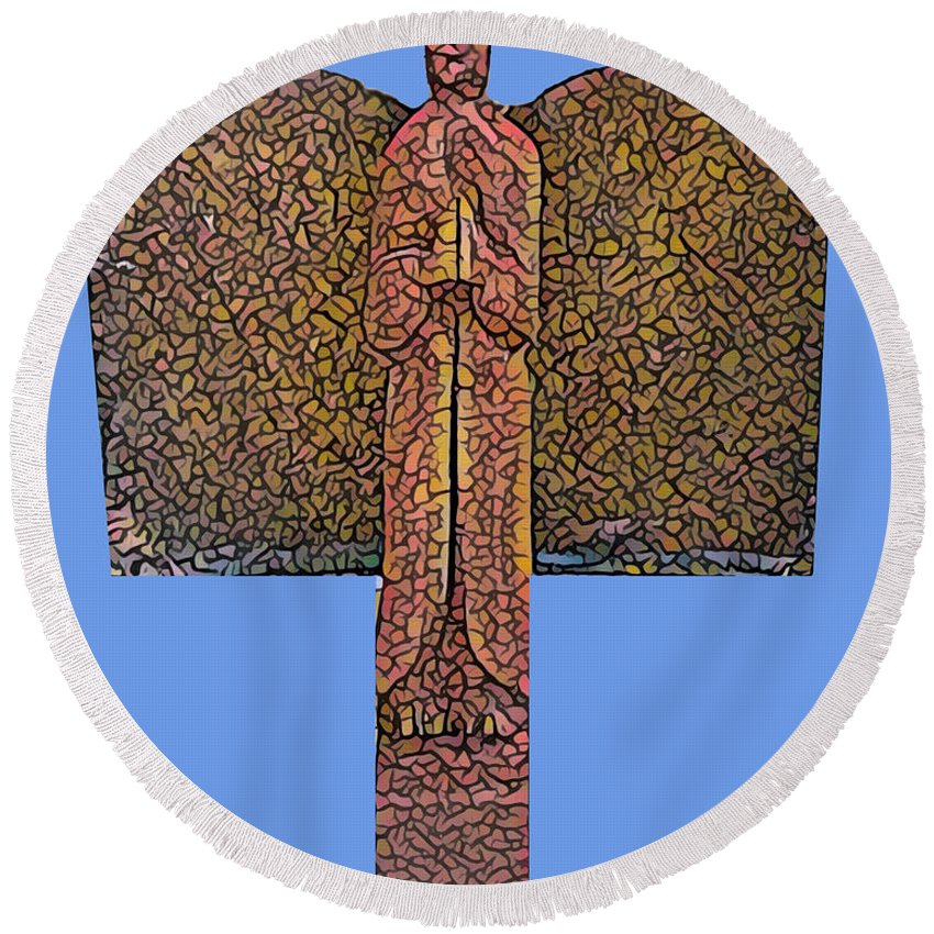 Angel Round Beach Towel featuring the mixed media Angel019 by John Warren OAKES