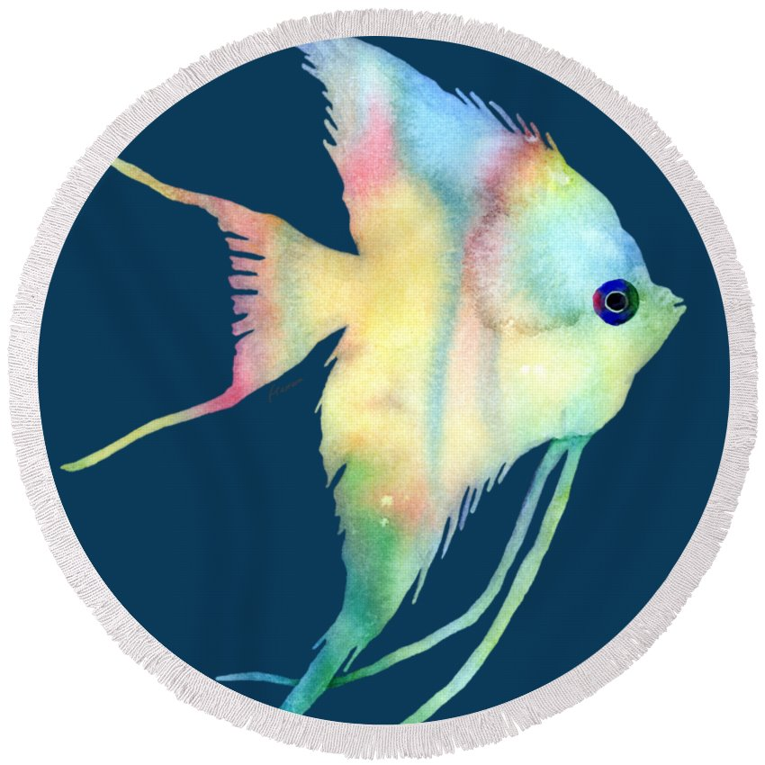 Fish Round Beach Towel featuring the painting Angelfish I - Solid Background by Hailey E Herrera
