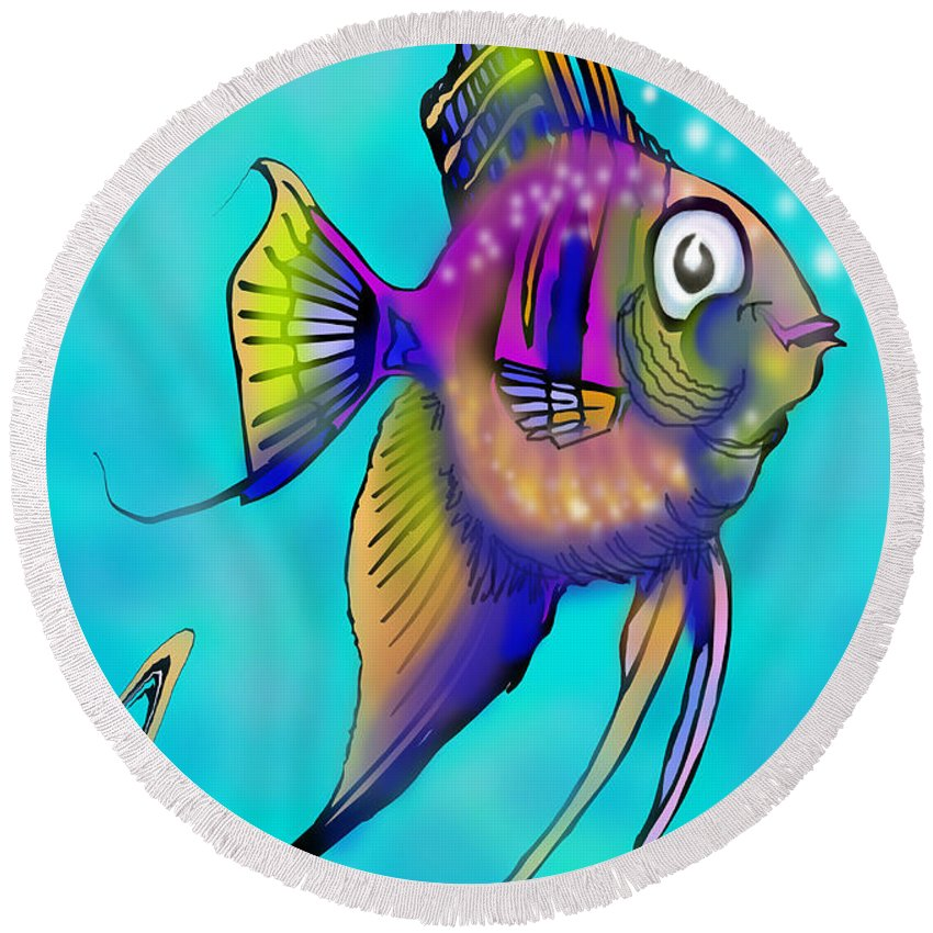 Angelfish Round Beach Towel featuring the painting Angelfish by Kevin Middleton