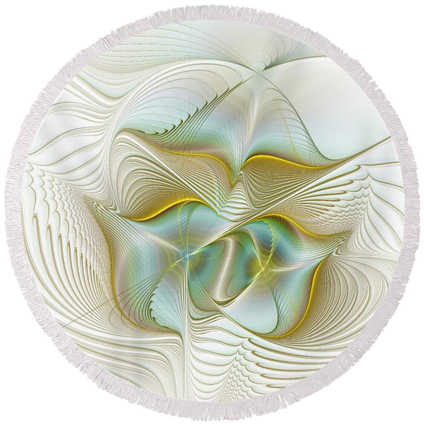 Digital Round Beach Towel featuring the digital art Angelic Forces by Deborah Benoit