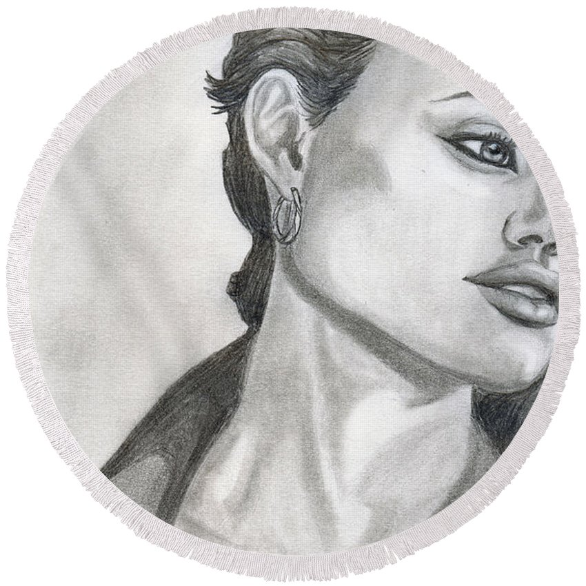 Pencil Round Beach Towel featuring the drawing Angelina Jolie by Alban Dizdari