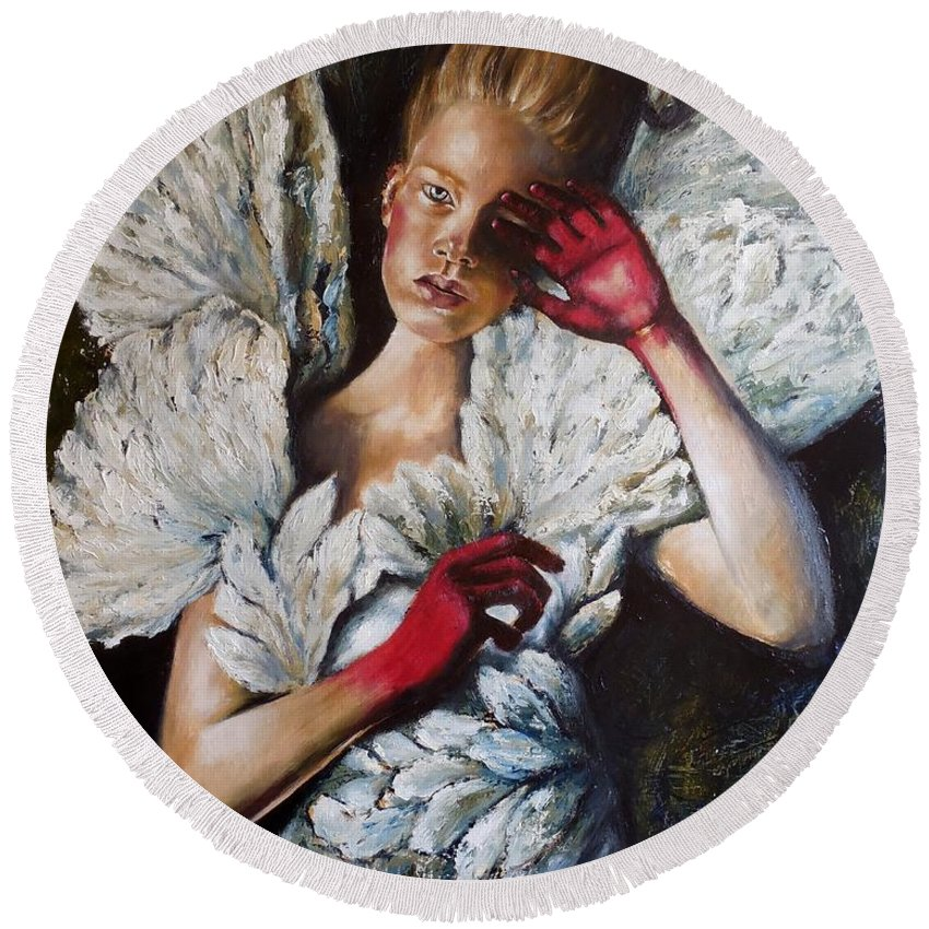 Girl Round Beach Towel featuring the painting Angel's Dont Cry. by Tatiana Siedlova