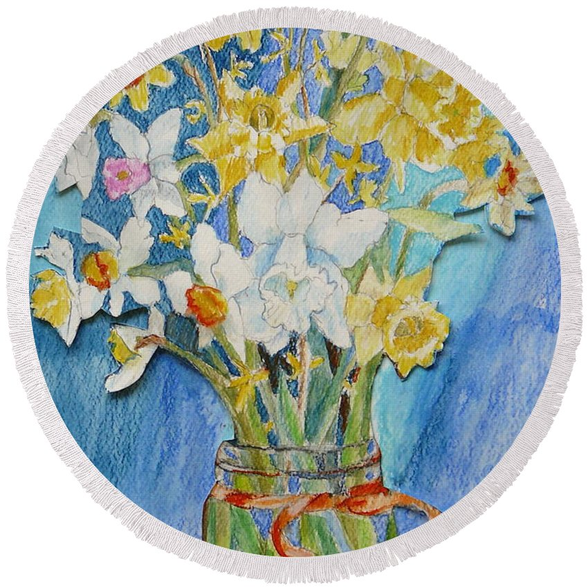 Flowers Round Beach Towel featuring the painting Angels Flowers by Jan Bennicoff