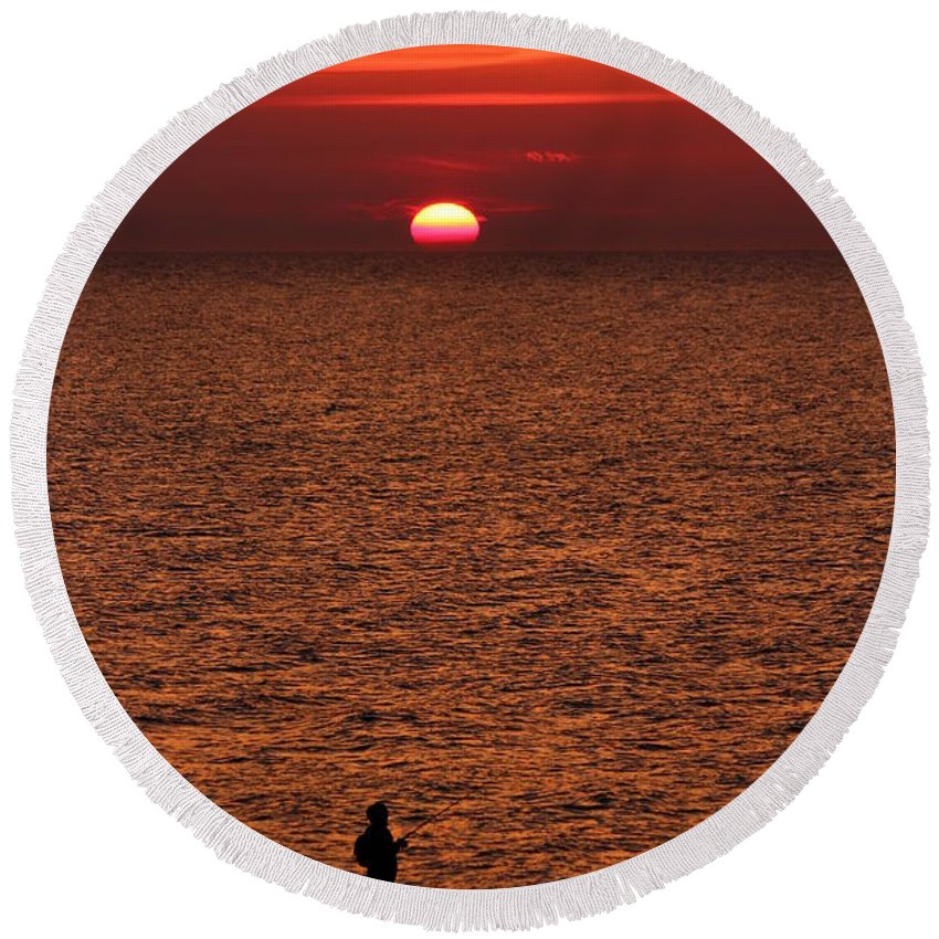 Abendstimmung Round Beach Towel featuring the photograph Angler In Summer Sunset by Heike Hultsch