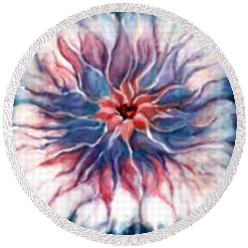 Abstract Flowerpink Art Wrok Round Beach Towel featuring the painting Angora Bloom by Jordana Sands