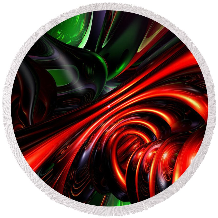 3d Round Beach Towel featuring the digital art Angry Clown Abstract by Alexander Butler