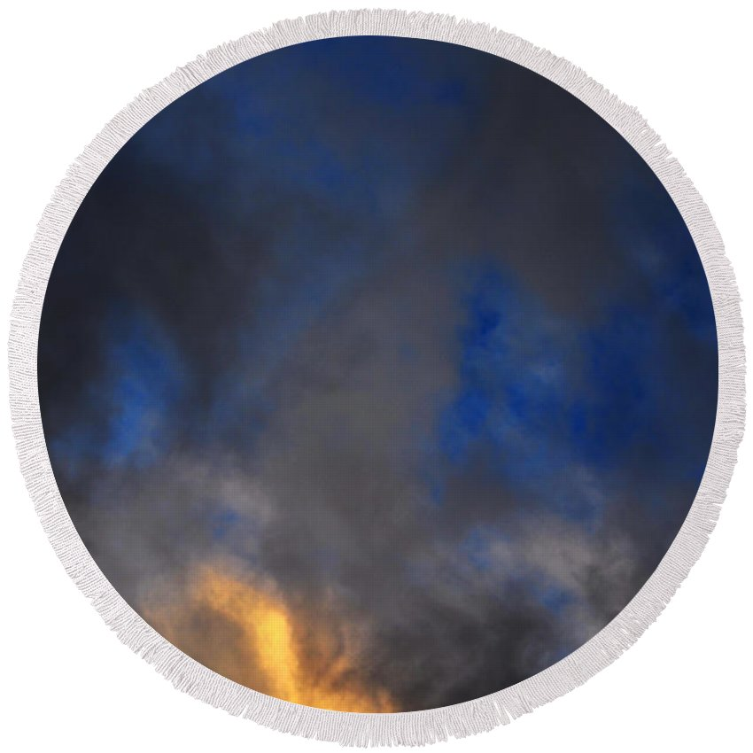 Clay Round Beach Towel featuring the photograph Angry Sky by Clayton Bruster