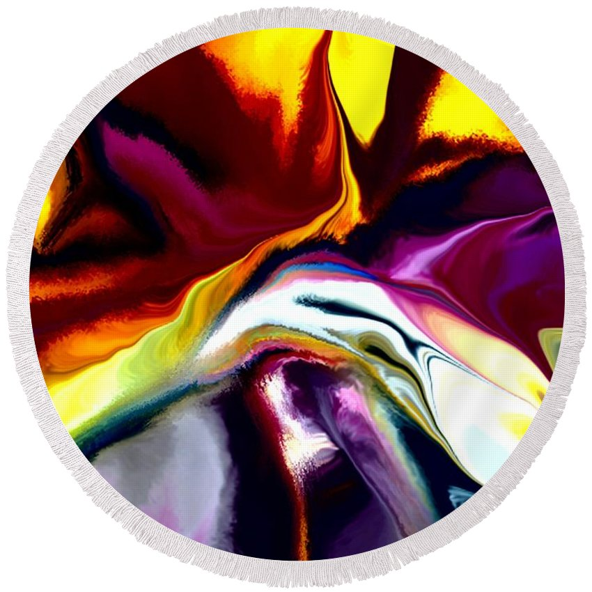 Abstract Round Beach Towel featuring the digital art Angst by David Lane