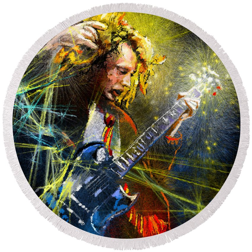 Music Round Beach Towel featuring the painting Angus Young by Miki De Goodaboom