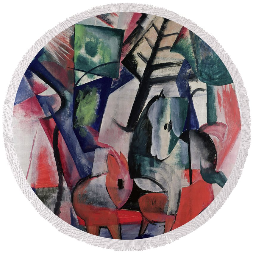 Marc Round Beach Towel featuring the painting Animals Under Trees by Franz Marc