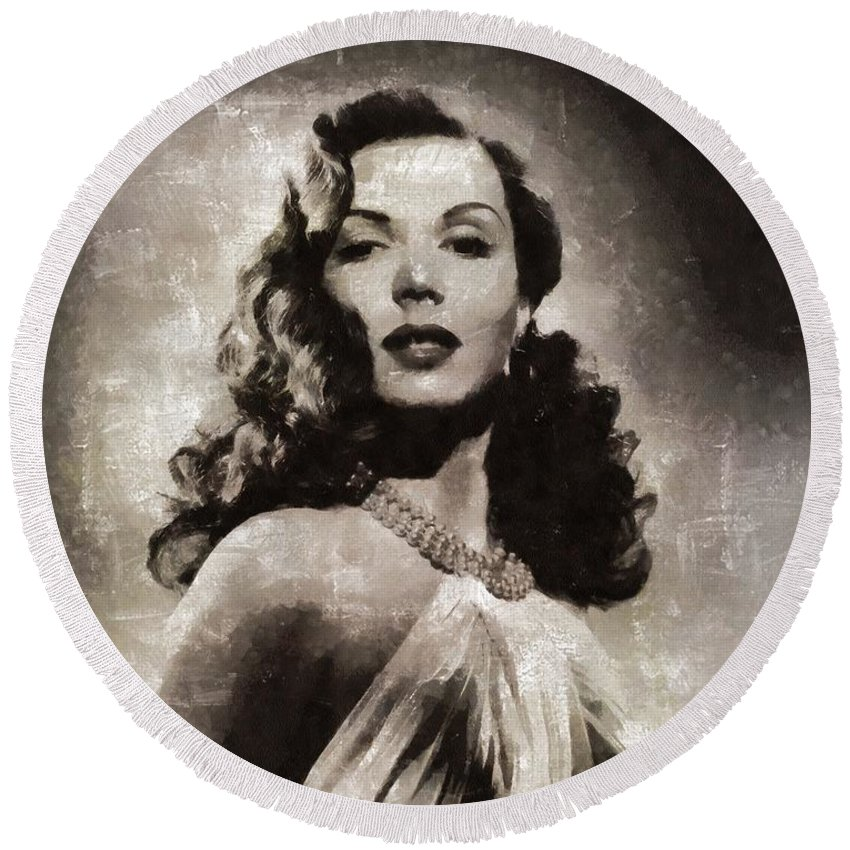 Hollywood Round Beach Towel featuring the painting Ann Miller, Vintage Actress by Mary Bassett