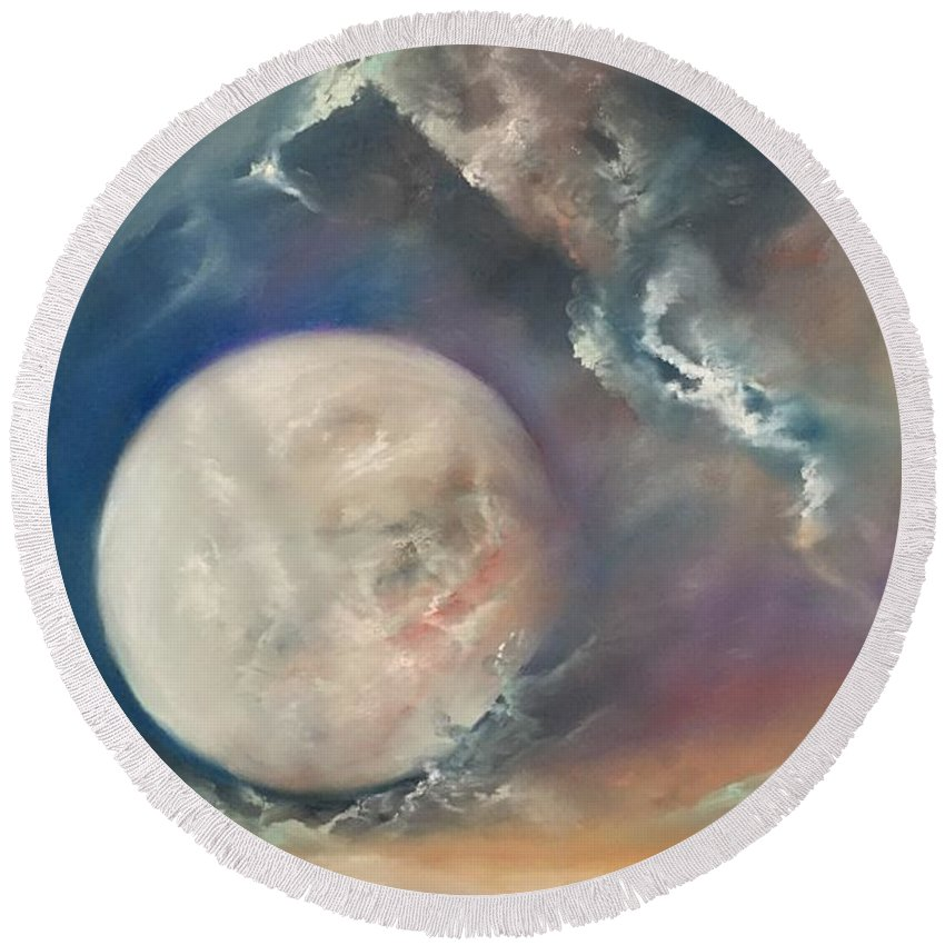 Pastel Round Beach Towel featuring the pastel Anna Maria Moonset by Lex Halakan