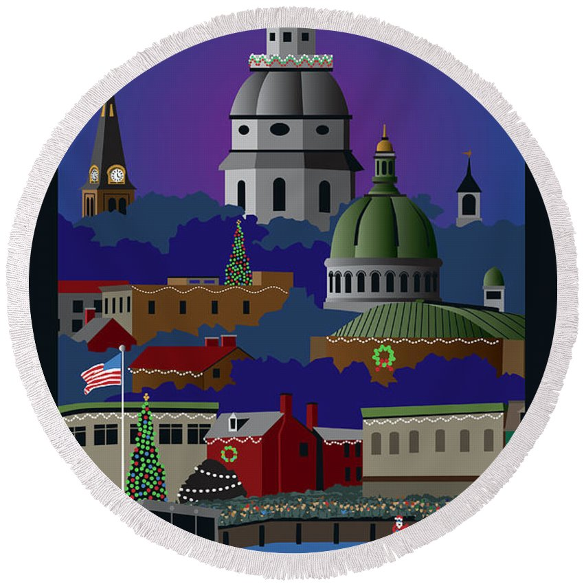 Holiday Round Beach Towel featuring the digital art Annapolis Holiday With Title by Joe Barsin