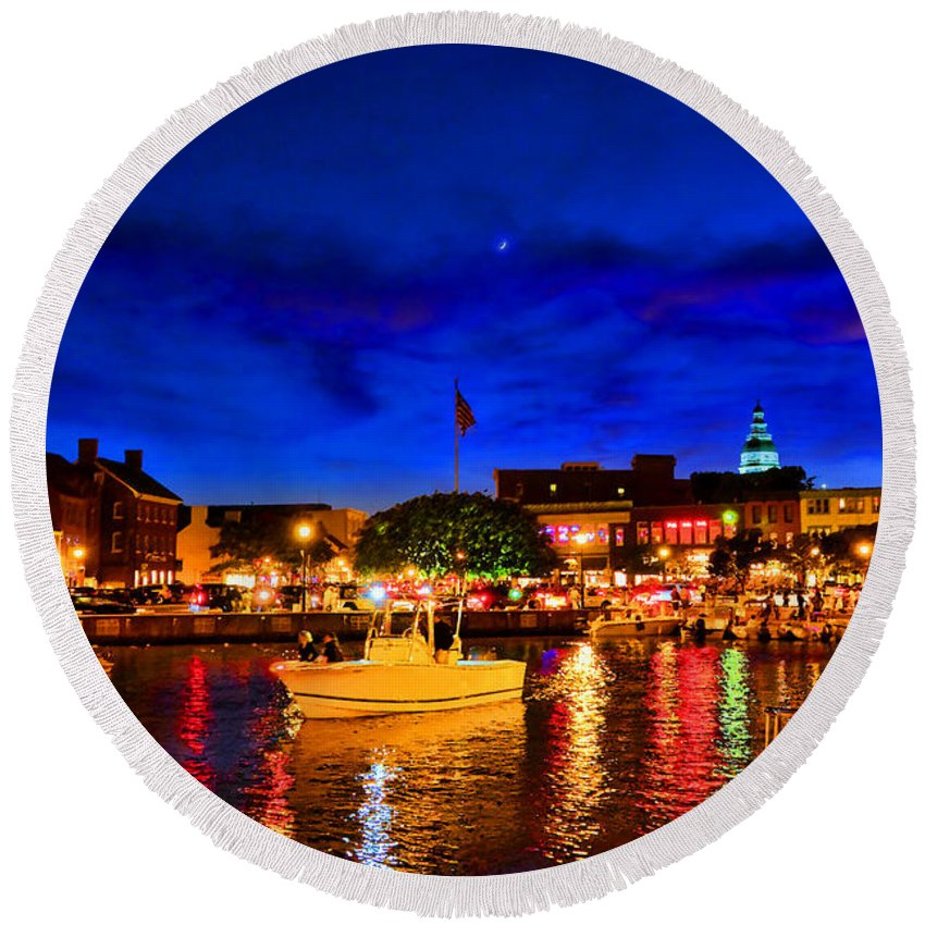 Annapolis Round Beach Towel featuring the photograph Annapolis Magic Night by Olivier Le Queinec