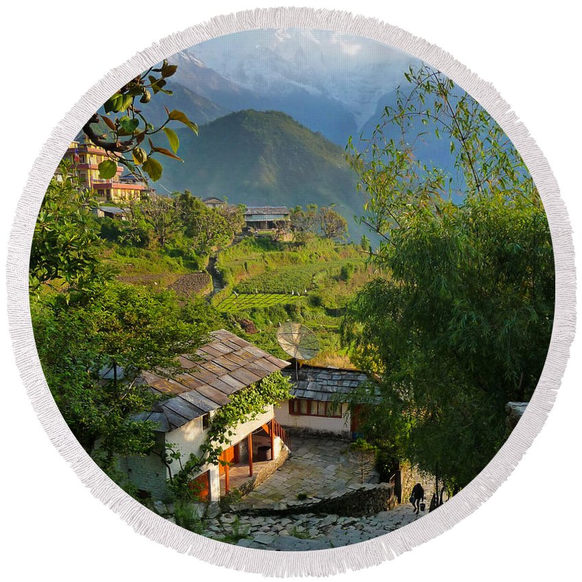 Fetching Water Round Beach Towel featuring the photograph Annapurna Village by Sonal Dave
