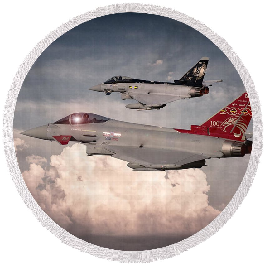 Raf Round Beach Towel featuring the digital art Anniversary Typhoons by J Biggadike