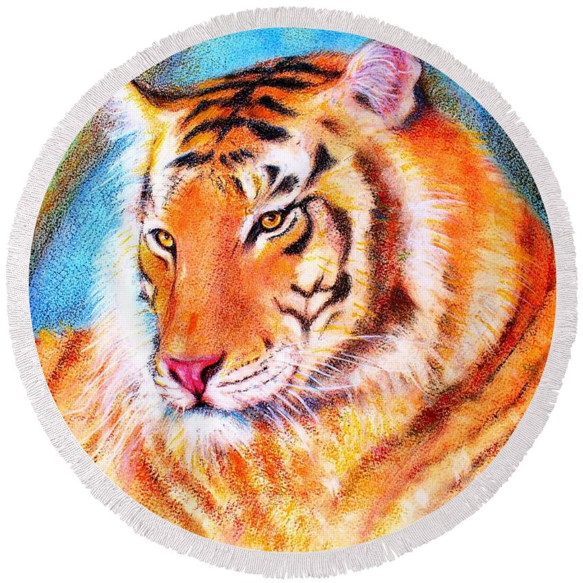 Animals Tiger Jungle Round Beach Towel featuring the drawing Ano Do Tigre by Fernanda Cruz