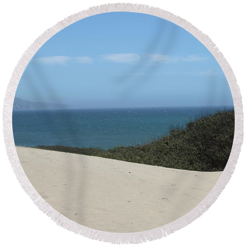 ano Nuevo Round Beach Towel featuring the photograph Ano Neuvo by Amanda Barcon