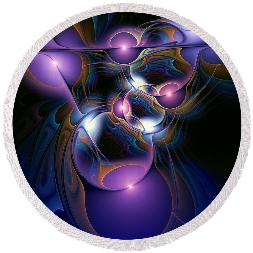 Abstract Round Beach Towel featuring the digital art Anointment by Casey Kotas