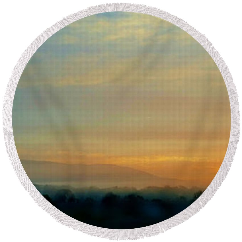 Sunrise Round Beach Towel featuring the digital art Another Amazing Morning by Dan Stone