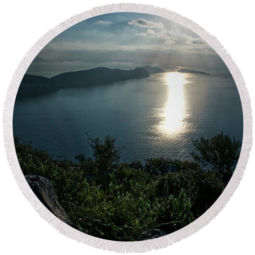Landscape.seascape . Sea View. Beautiful Day. Nature. Round Beach Towel featuring the photograph Another Beautiful Day. by Yau Ming Low
