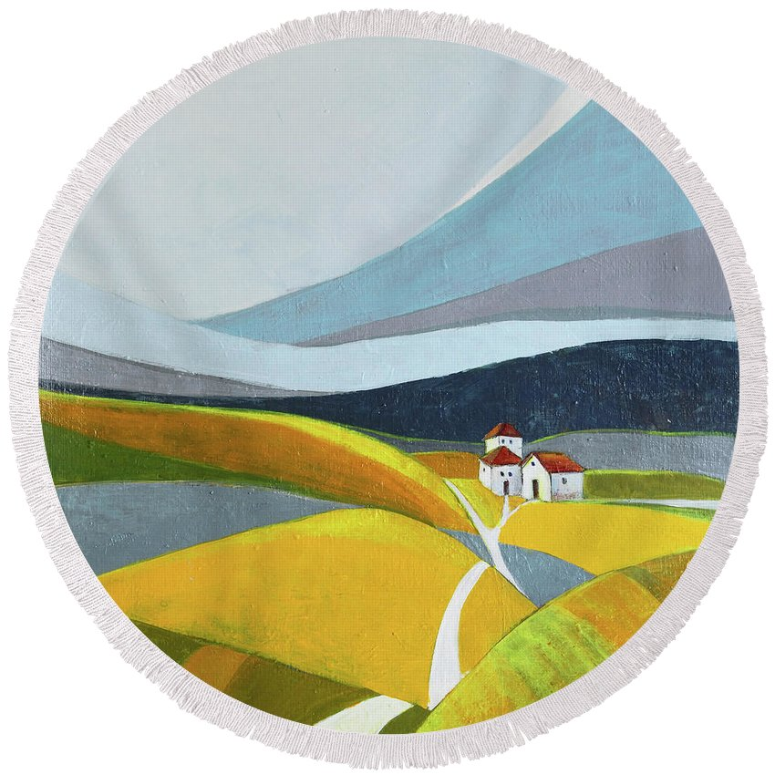 Landscape Round Beach Towel featuring the painting Another Day On The Farm by Aniko Hencz