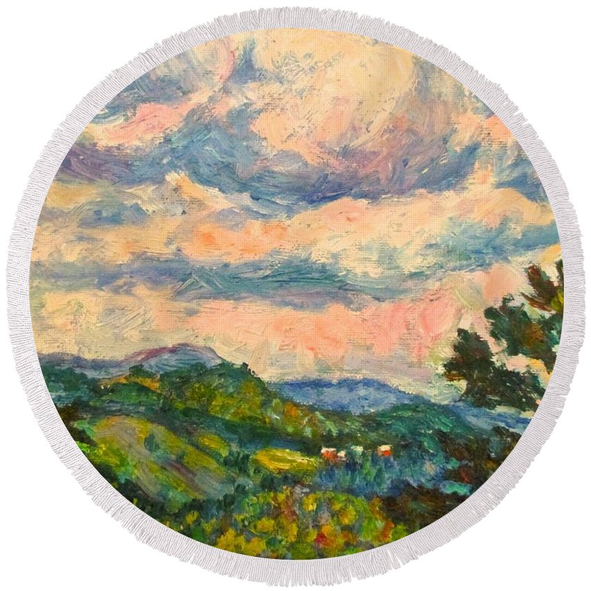 Landscape Paintings Round Beach Towel featuring the painting Another Rocky Knob by Kendall Kessler