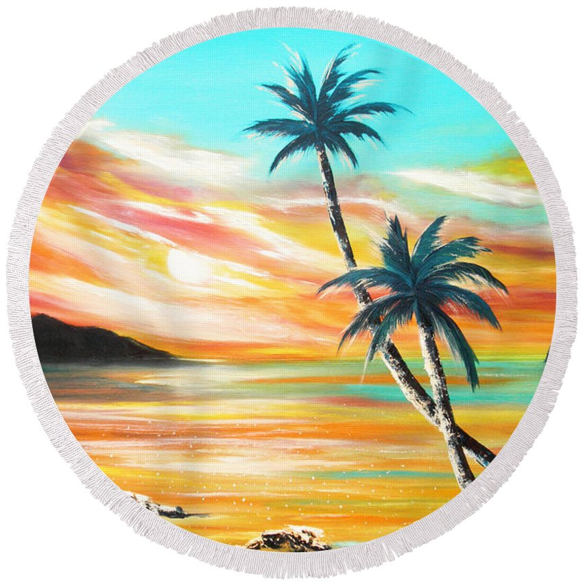 Sunset Round Beach Towel featuring the painting Another Sunset In Paradise by Gina De Gorna