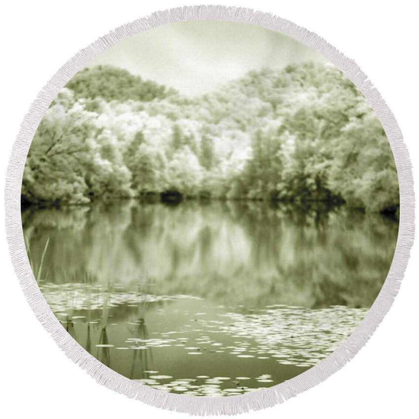 Infrared Round Beach Towel featuring the photograph Another World by Alex Grichenko