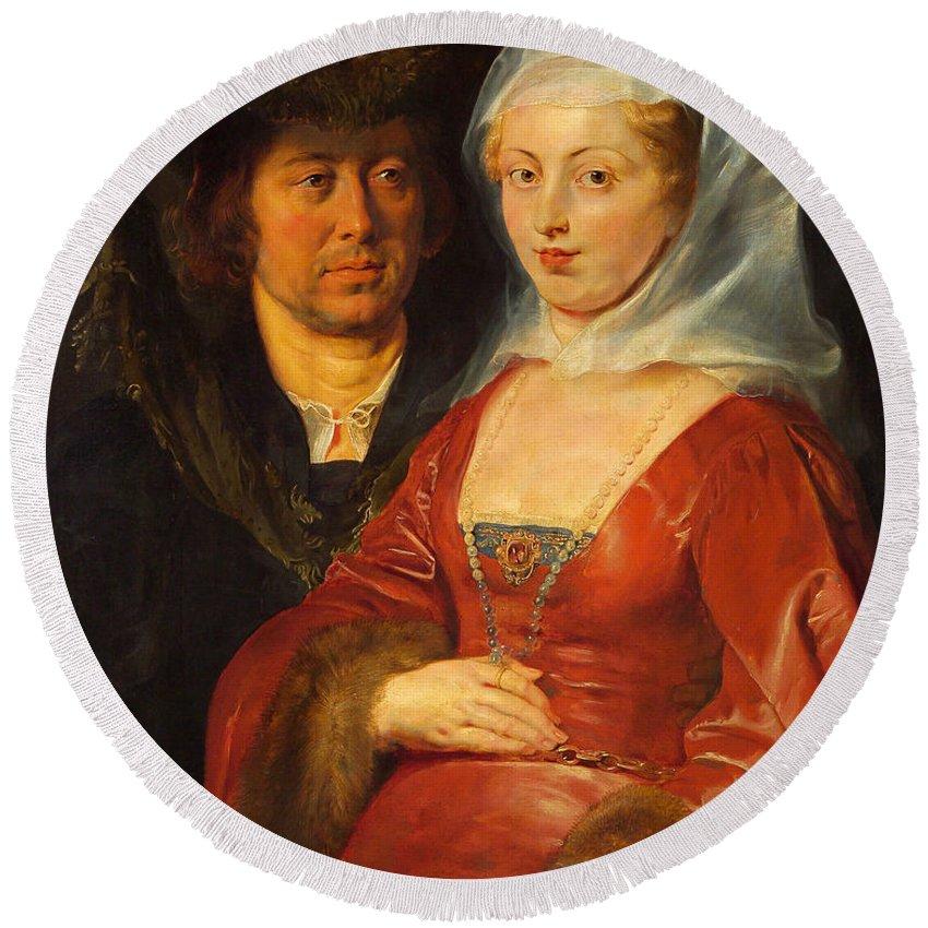 Peter Paul Rubens Round Beach Towel featuring the painting Ansegisus And Saint Bega by Peter Paul Rubens