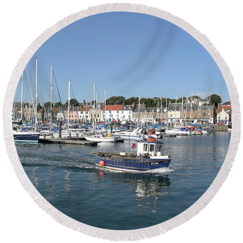Anstruther Round Beach Towel featuring the digital art Anstruther Away Fishing by Charles Hutchison