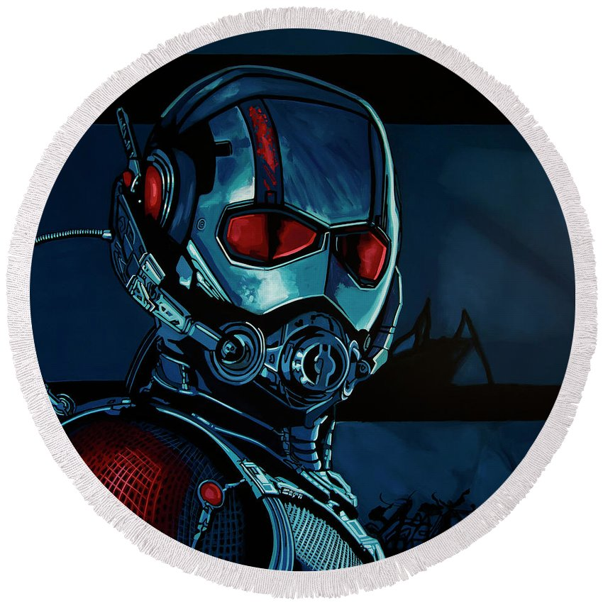 Ant Man Round Beach Towel featuring the painting Ant Man Painting by Paul Meijering