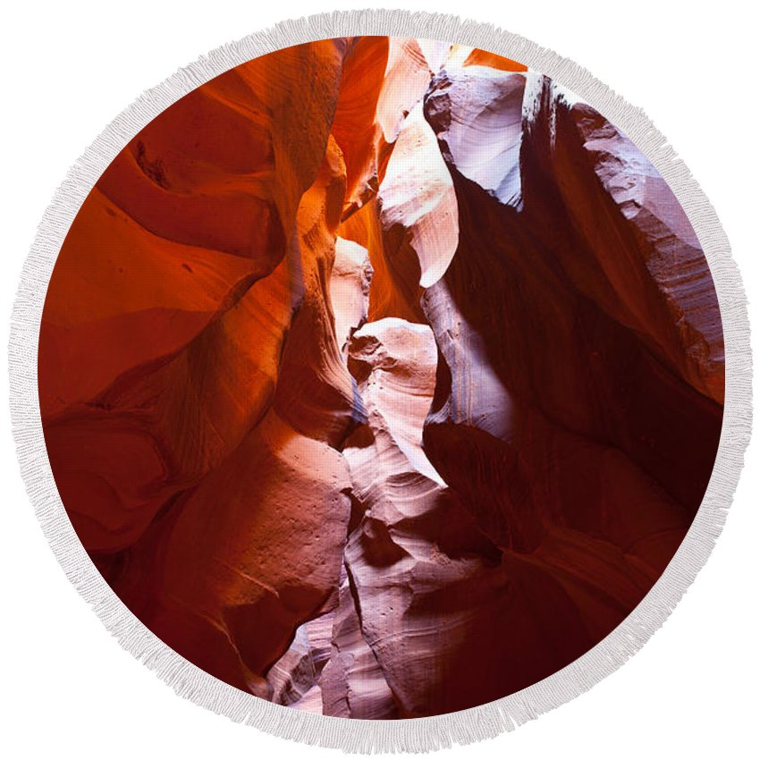 Antelope Canyon Round Beach Towel featuring the photograph Antelope 12 by Avril Christophe
