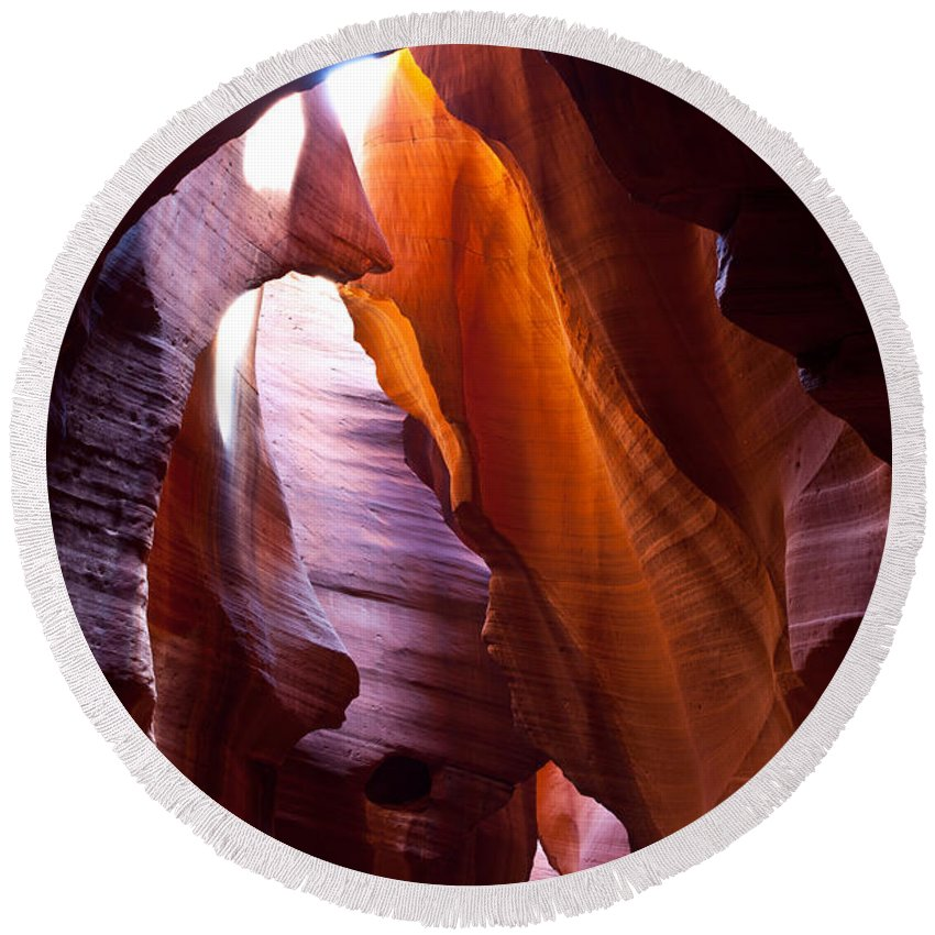 Antelope Canyon Round Beach Towel featuring the photograph Antelope 8 by Avril Christophe