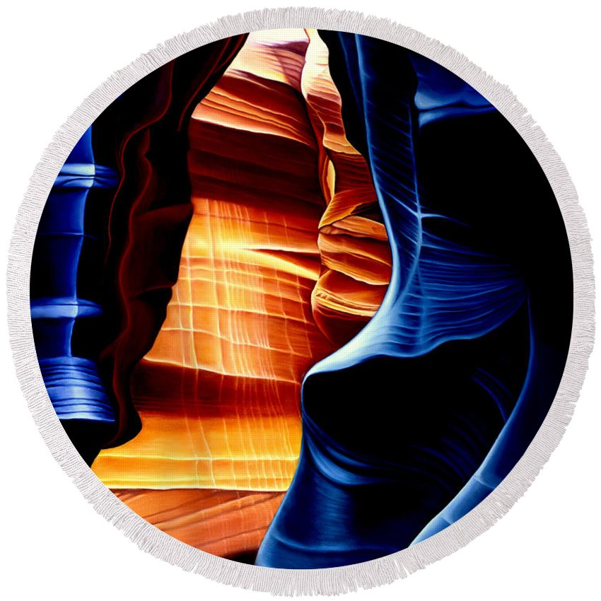 Landscape Round Beach Towel featuring the painting Antelope Canyon by Anni Adkins
