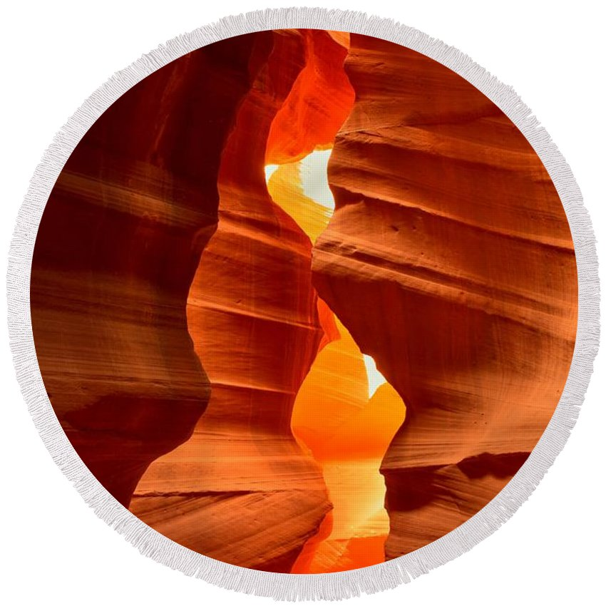 Antelope Candle Round Beach Towel featuring the photograph Antelope Canyon Candle by Adam Jewell