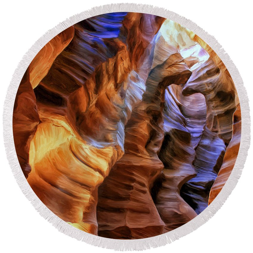 Antelope Canyon Round Beach Towel featuring the painting Antelope Canyon by Dominic Piperata