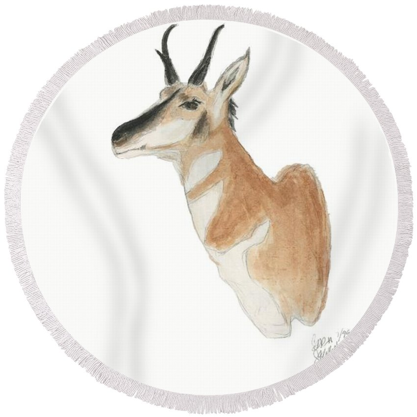 Antelope Round Beach Towel featuring the painting Antelope Mount by Sara Stevenson