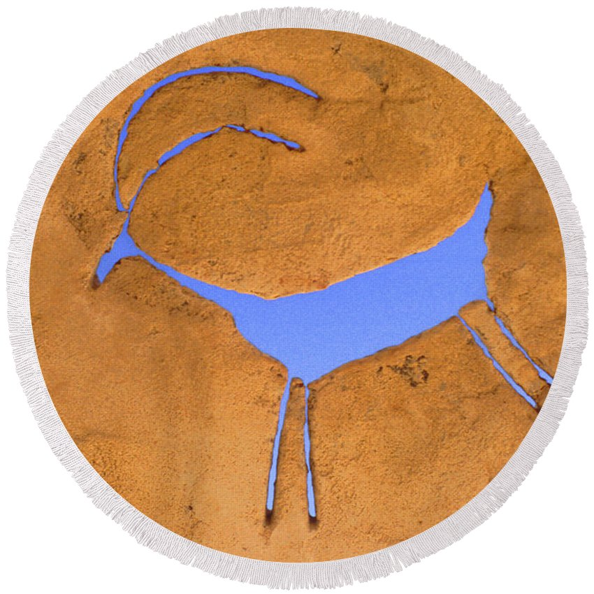 Anasazi Round Beach Towel featuring the photograph Antelope Petroglyph by Jerry McElroy