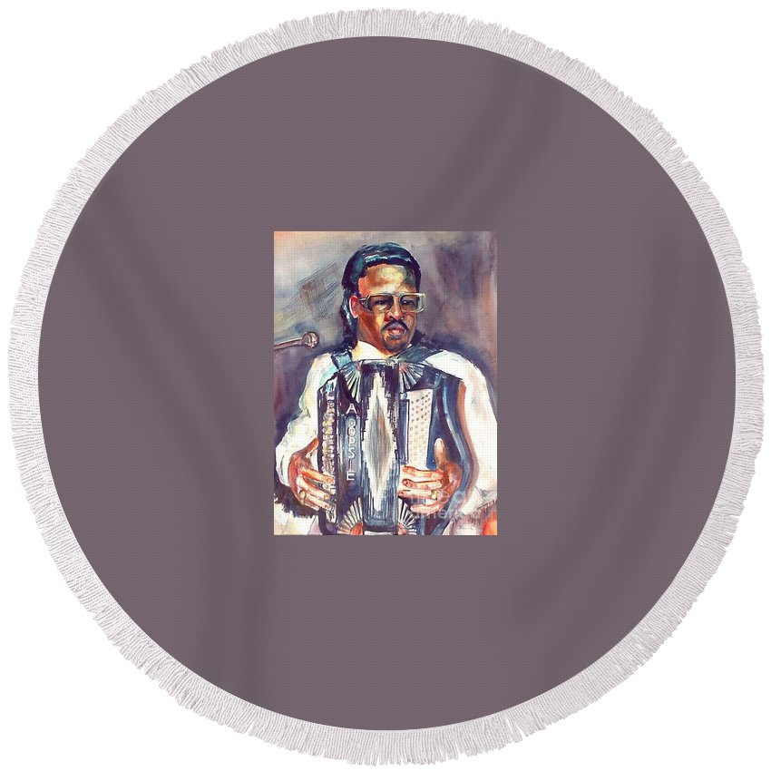 Accordian Round Beach Towel featuring the painting Anthony by Beverly Boulet