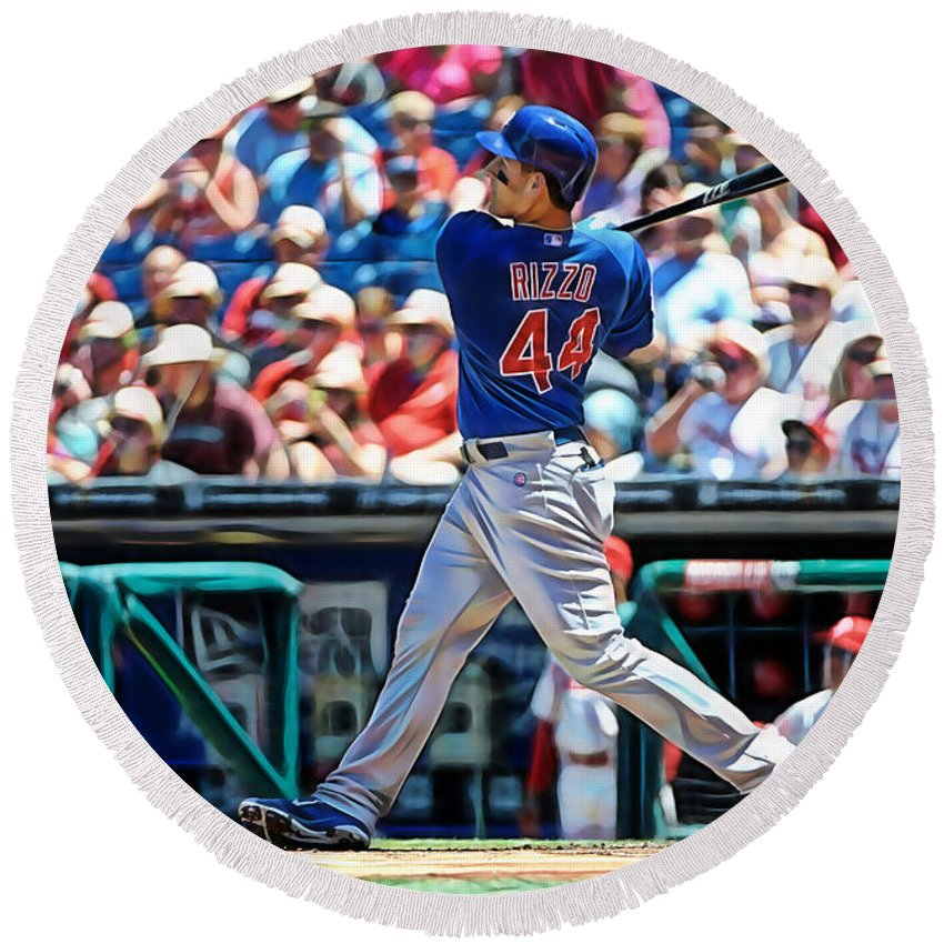 Anthony Rizzo Round Beach Towel featuring the mixed media Anthony Rizzo by Marvin Blaine
