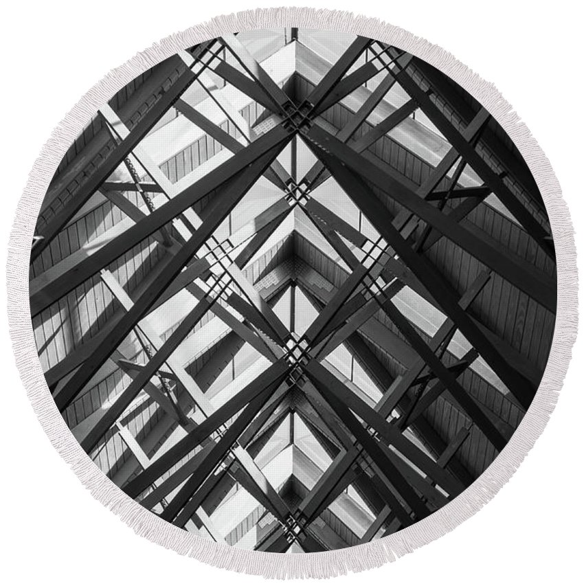 Abstract Round Beach Towel featuring the photograph Anthony Skylights Grayscale by Jennifer White