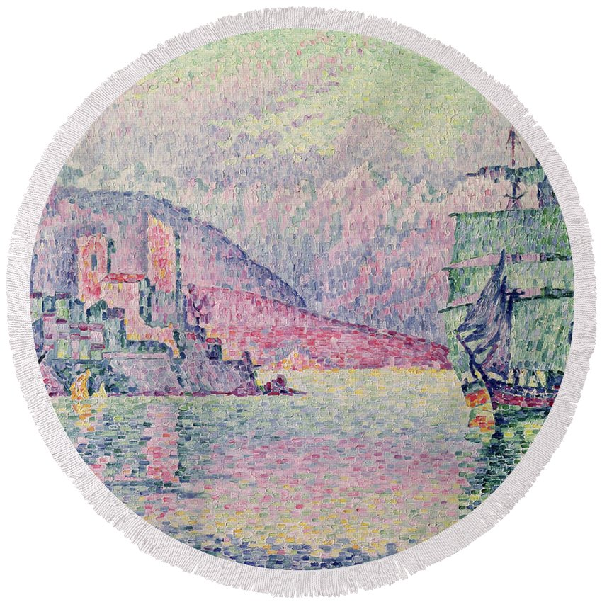 Antibes Round Beach Towel featuring the painting Antibes by Paul Signac