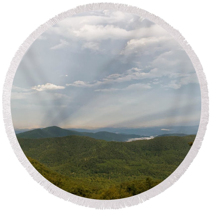 Landscape Round Beach Towel featuring the photograph Anticrepuscular Rays On The Blue Ridge Parkway by David Rowe