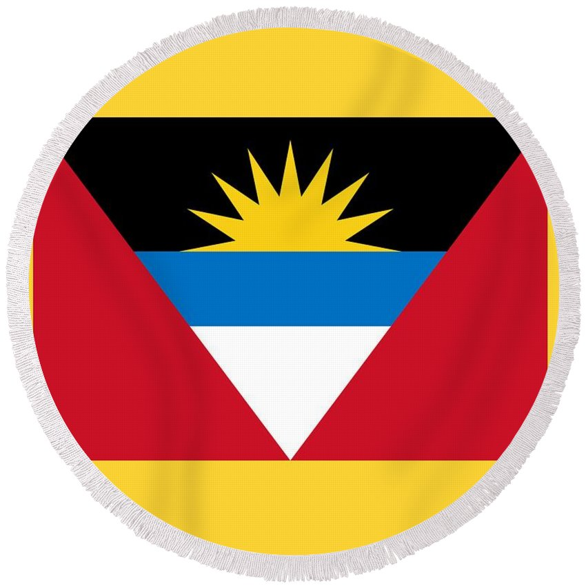 Flag Round Beach Towel featuring the digital art Antigua And Barbuda Flag by Frederick Holiday