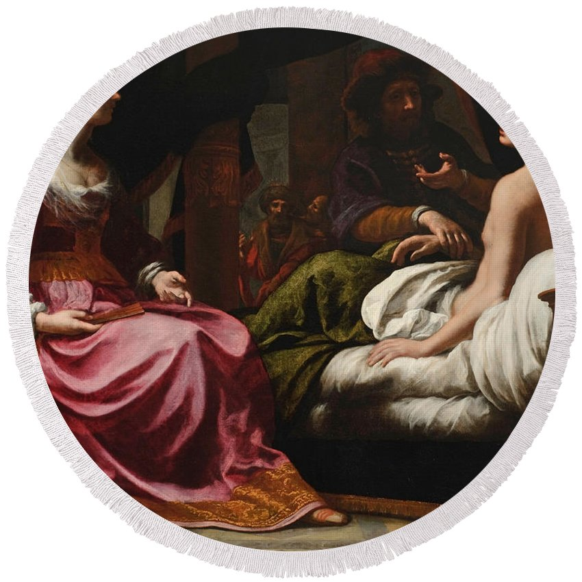 Felice Ficherelli Round Beach Towel featuring the painting Antiochus Prince Of Syria And Stratonice His Stepmother by Felice Ficherelli