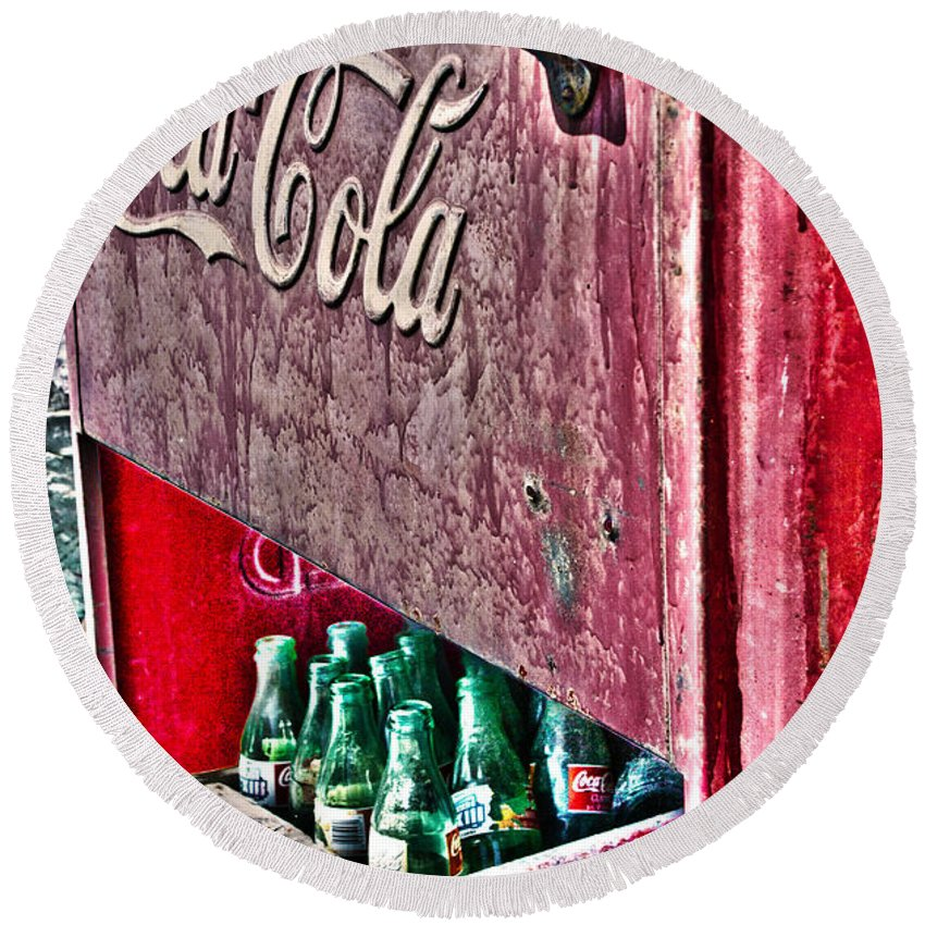 Coke Round Beach Towel featuring the photograph Antique Coca Cola Coke Refrigerator by Robin Lewis