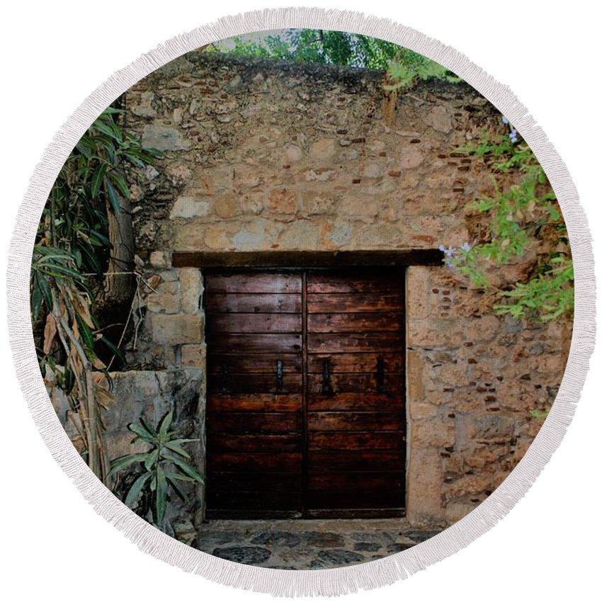 Wood Door /greece Round Beach Towel featuring the photograph Antique Door by Judith Lowrey